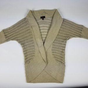 Takeout Tan 3/4 Sleeve Crochet Cardigan